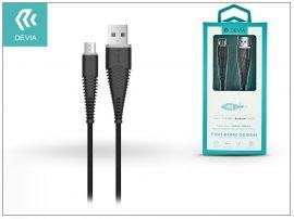 USB - micro USB adat- és töltőkábel 1,5 m-es vezetékkel - Devia Fish1 Flexible Cable for Android 2.4 - black