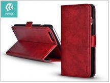 Apple iPhone 7 oldalra nyíló flipes tok hátlappal + kártyatartóval - Devia Magic Leather 2in1 - red