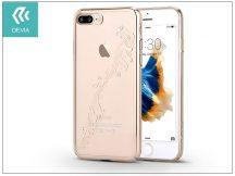 Apple iPhone 7 Plus/iPhone 8 Plus hátlap Swarovski kristály díszitéssel - Devia Crystal Papillon - champagne gold