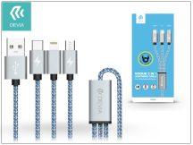 USB - micro USB + Lightning + Type-C adat- és töltőkábel 1,2 m-es vezetékkel - Devia Vogue 3in1 Charging Cable USB 2.4A - blue