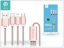 USB - micro USB + Lightning + Type-C adat- és töltőkábel 1,2 m-es vezetékkel - Devia Vogue 3in1 Charging Cable USB 2.4A - pink