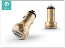 Devia Thor Dual USB szivargyújtós töltő adapter - 5V/2,4A - gold
