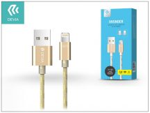 USB - micro USB + Lightning adat- és töltőkábel 1,5 m-es vezetékkel - Devia iWonder 2in1 Charging Cable USB 2.4A - gold