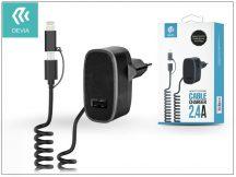 Devia hálózati töltő adapter micro USB + Lightning csatlakozóval - 5V/2,4A - Devia Cable Charger - black