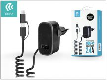 Devia hálózati töltő adapter micro USB + Type-C csatlakozóval - 5V/2,4A - Devia Cable Charger - black
