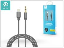 Lightning - 3,5 mm jack audio kábel 1 m-es vezetékkel - Devia Gracious Premium Nylon AUX Cable - grey