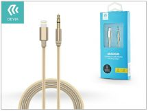 Lightning - 3,5 mm jack audio kábel 1 m-es vezetékkel - Devia Gracious Premium Nylon AUX Cable - champagne gold