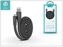USB - micro USB adat- és töltőkábel 80 cm-es vezetékkel - Devia Ring Y1 Cable for Android 2.4 - black