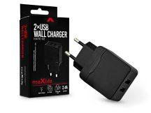 Maxlife 2xUSB hálózati töltő adapter - Maxlife MXTC-02 2xUSB Wall Fast Charger - 5V/2,4A - fekete