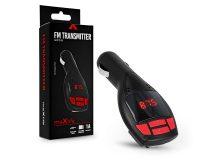 Maxlife FM-transmitter/szivargyújtó töltő - USB + microSD kártyaolvasó + AUX - Maxlife MXFT-01 - fekete