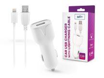 Setty USB szivargyújtó töltő adapter 1 m-es lightning vezetékkel - Setty USB Charger with Lightning Cable - 5V/2,4A - fehér
