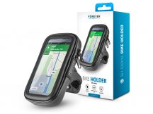"""Univerzális kerékpárra szerelhető, por- és cseppálló telefontartó max. 6,5"""", méretű készülékekhez - Forever BH-100XXL Bike Holder - fekete"""