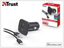 Apple iPhone 5/5S/5C/SE/6S/6S Plus Lightning szivargyújtó töltő adapter 1 m-es kábellel (Apple MFI engedélyes) - Trust - 5V/1A - fekete