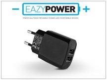 Univerzális 2xUSB hálózati töltő adapter - Eazy Power - 5V/2,1A - fekete - (ECO csomagolás)
