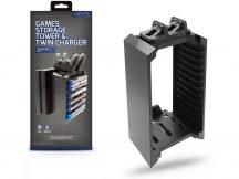 Venom VS2736 Games Storage Tower Twin Charger 12 db-os játék tartó és töltő állvány - PS4 - fekete